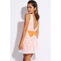 white lace neon orange bow tie backless A line retro skater cocktail dress - Dresses