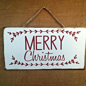 Merry Christmas Rustic Sign / Distressed Wooden Sign / Christmas Decor / FREE Shipping