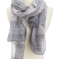 Lightweight Paisley Print Scarf by Charlotte Russe - Gray Combo