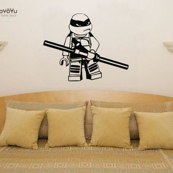YOYOYU Wall Decal Vinyl Art Room Decoration Lego Teenage Mutant Ninja Turtle Donatello Children's Bedroom Removeable Mural YO501