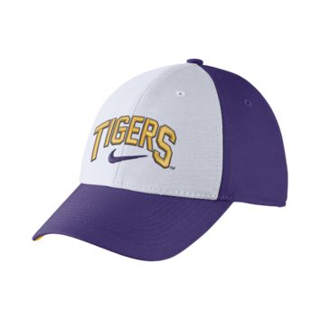 Nike Dri-FIT Swoosh Flex Verbiage (LSU) Fitted Hat Size FLX