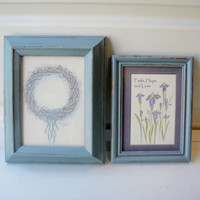 Metallic Blue Set of Two (2) Shabby Frame Set Frame Collage Distressed -Simple Lines - Up Cycled Beach Home Cottage Chic Decor