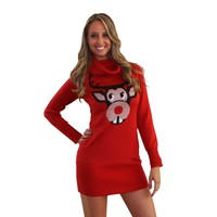 Bucktooth Rudolph Ugly Christmas Sweater Dress | Tipsy Elves