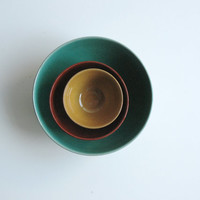 SALE Ceramic nesting bowls in Green Brown and Mustard Food prep Kitchen servings - Ready to ship