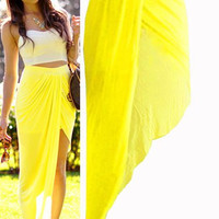 Yellow Wraparound Maxi Skirt