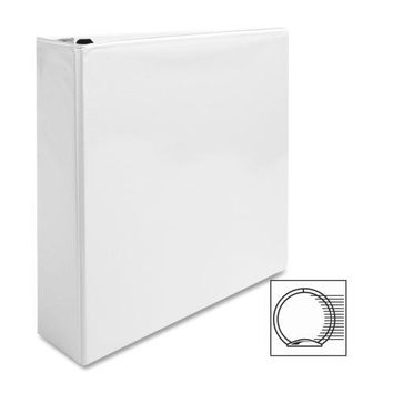 """Business Source View Binder, w- 2 Inside Pockets, 2"""" Capacity, White - CASE OF 7"""