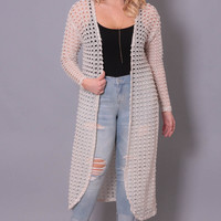 Plus Size Crochet Cardigan - Cream