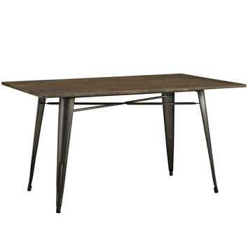 "Alacrity 59"" Industrial Gray Rectangle Wood Dining Table"