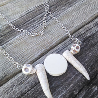 Sugar Skull Fang Tooth Bone Pendant,Bone Necklace,Real animal Bone Jewelry,Tribal Necklace, LARP Cosplay Jewelry,Gypsy Boho Witch,Halloween