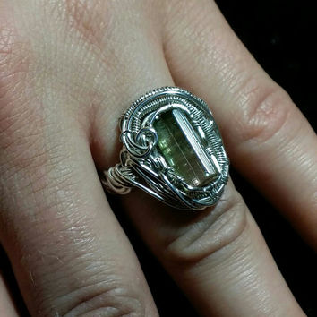 gorgeous watermelon tourmaline crystal set in sterling silver wire wrapped  ring sz6