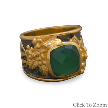 Women's Sterling Silver Ornate Green Onyx Ring