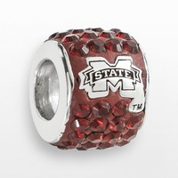 LogoArt Mississippi State Bulldogs Sterling Silver Crystal Logo Bead - Made with Swarovski Elements (Red)