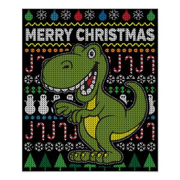 Green Dino Ugly Christmas Sweater Wildlife Series Poster
