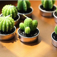 Cactus Candles 6pcs (1set) Mini Cute Cactus Plant Look a Like candles for Home Decor Tableware