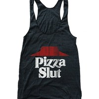 RexLambo Women's Pizza Slut Dirty Vintage Print Flowy Athletic Racerback Tank Top