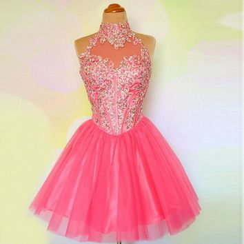 2016 Cute Juniors Hot Pink Graduation Dress Crystal Tulle Short For Prom Girls Party With Embroidery Halter Homecoming Dresses