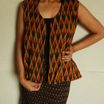 Ikat Vest, Waistcoat, Indian Top, Bohemian Shirt