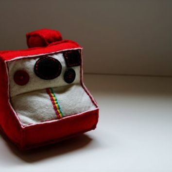 Red Polaroid Plush Camera by onelatenight on Etsy