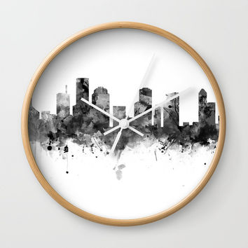Houston Skyline Black and White Wall Clock by monnprint