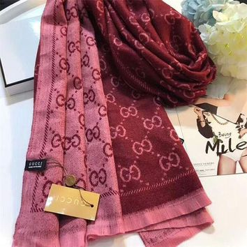 CREYUX5 Luxury Gucci Keep Warm Scarf Jacquard Scarves Winter Wool Beautiful Shawl Red Pink