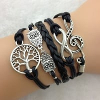 infinity Antique Charm colorful leather peace tree music romatic Bracelet