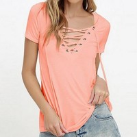 New European Fashion Lace Up Summer T Shirt Women Sexy V Neck Hollow Out Top Casual Short Sleeve Basic T-shirts  JL