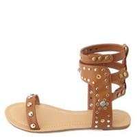 Studded Ankle Cuff Gladiator Sandals by Charlotte Russe - Cognac
