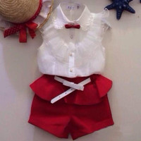 Girls 2 PC Summer Sleeveless Blouse + Shorts