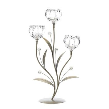 Iron Crystal Flower Triple Candle Holder