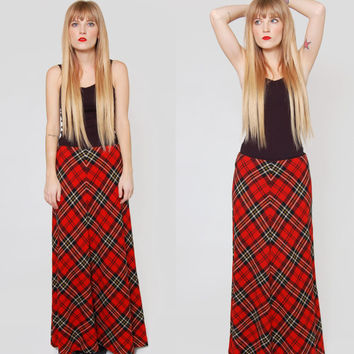 Vintage 70s Tartan PLAID Maxi Skirt Red and Black Grunge Indie Long WOOL Schoolgirl Skirt