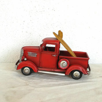 Vintage, scarlet  pick-up, retro style, collectible truck miniature with yellow surfboards, metal collectible red truck, men's gift truck