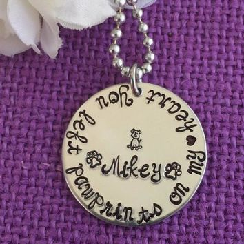 Pet Memorial Jewelry - Dog Memorial Necklace - Dog Memorial Necklace - Pet loss - You left pawprints on my heart - Dog Loss Necklace