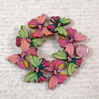 Pink and Green Butterfly Wooden Button Bracelet, Small