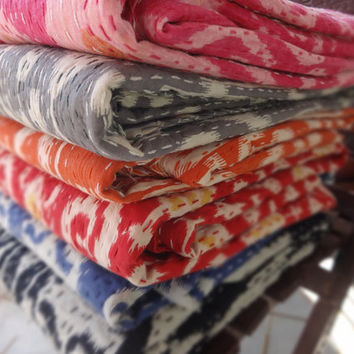 Set of 5 Handmade Ikat Kantha Quilt, Wholesale Queen Size Ikat Kantha, Reversible Kantha Bedding, Hand Kantha Work Bedspread , Room Decor