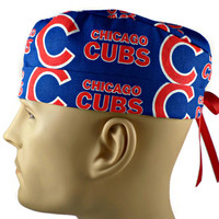 Men's Adjustable Cuffed or Un-Cuffed Surgical Scrub Hat Cap in Chicago Cubs