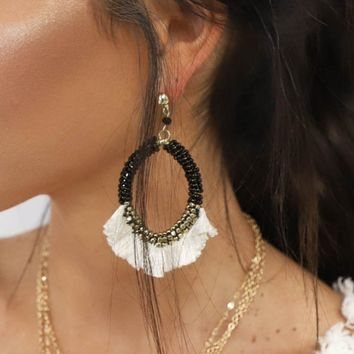 So Lucky Beaded Drop Tassel Earrings