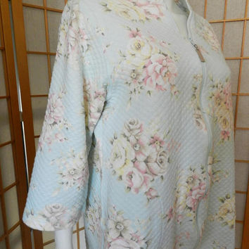 60s Miss Elaine Rose Floral  Quilted House Coat, Pastel Floral Dressing Gown / Vintage Robe Size M/L