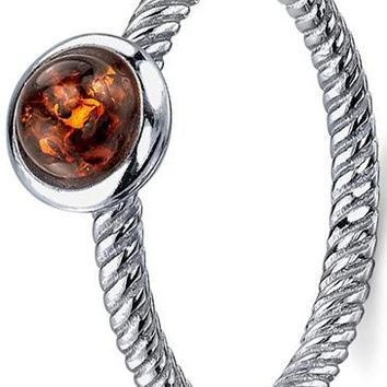 Sterling Silver Baltic Amber Ring with Cognac Color Cabochon and Twisted Band Design