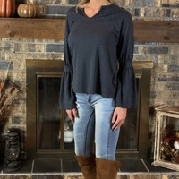 Midnight Navy Bell Sleeve Top