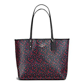 COACH REVERSIBLE SIGNATURE TOTE (Bright Red Black)