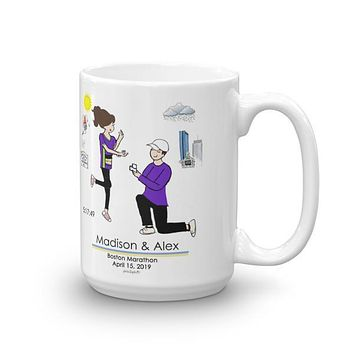 Boston Engagement Marathon - Friend by your side no road seems too long personalized mug