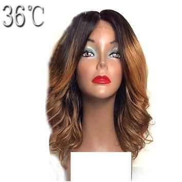 36C Short Human Hair Lace Front Wigs Ombre Color Peruvian Bob Non Remy Two Tone Hair Wig with Baby Hair Middle Part
