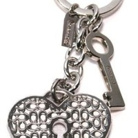 Coach Signature C Lock and Key wtih Chain Keyring / Purse Charm Style 92885