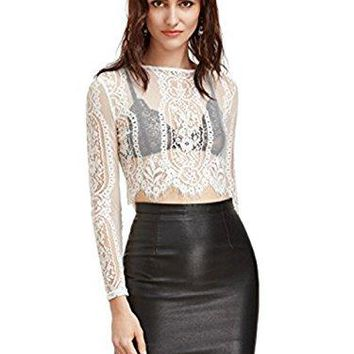MakeMeChic Womens Long Sleeve Sexy Sheer Blouse Mesh Lace Crop Top