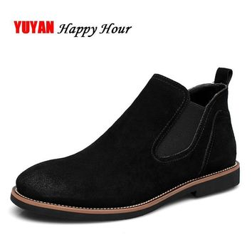 Suede Leather 2017 Autumn Winter Shoes Men Chelsea Boots Fashion Men's Boots Male Bran