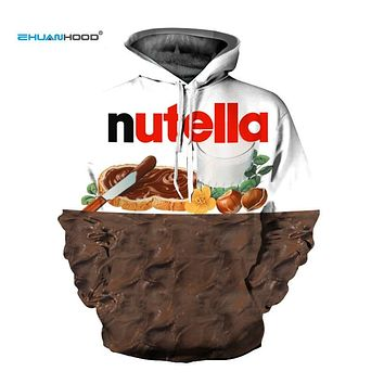 EHUANHOOD New Fashion 3D Sweatshirts Hoodies Women/Men Hoodie Print  Nutella Food Hip Hop Casual Style Brand Pullovers Tops