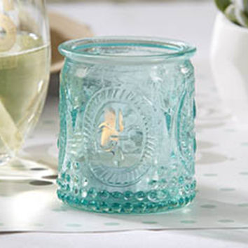 Vintage Blue Glass Candle Holders