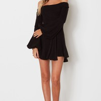Winter Bell Mini Dress Black