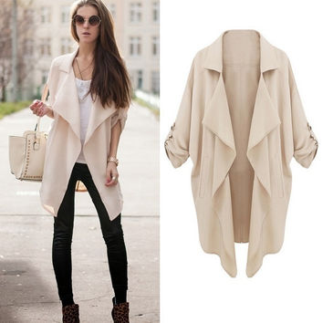 SUNFASHION Women's Fashion Hot Cheap Sale Beige Long Sleeve Casual Loose Pockets Coat = 1920281092