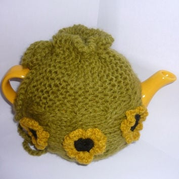 Tea Pot Cozy, Knitted tea cosy, green color,   teapot cozy with flowers, Mothers day gifts,Valentines gifts, Available in other colors,